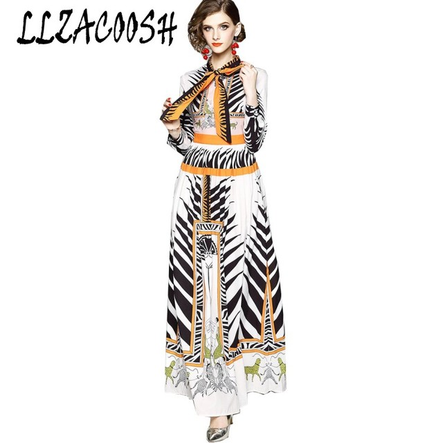 Runway Dresses 2018 Women High Quality Bow Neck Vintage Animal Print Party  Dresses Designer Long Maxi Dress Vestidos Robe Femme 74c97be1b828