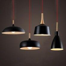 Modern Pendant Light Nordic Style Suspension Luminaire Hanging Lamp Vintage Pendant Lamp Rustic Wood Light Aluminium Lampshade