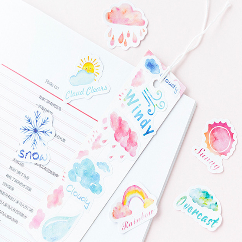 46pcs box Cute Cartoon One Person Good Weather Boxed Stickers Diary Adhesive Boy Girl Scrapbooking Decorative DIY Stickers in Stationery Stickers from Office School Supplies