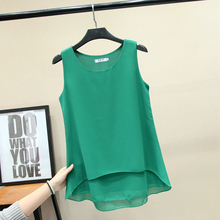 New Womens Chiffon Tops Tees Summer 2019 Fashion Casual Solid color Sleveless Double-layer T-shirt Loose Female