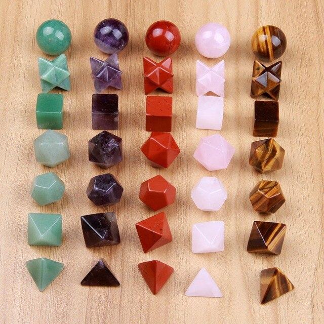 แกะสลักคริสตัล Platonic Solids เรขาคณิตศักดิ์สิทธิ์สัญลักษณ์ 7 ชิ้นควอตซ์อเมทิสต์ Jasper Merkaba Star Stone Healing Balancing ชุด
