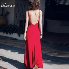 Ubei New style beach holiday backless maxi dress retro red slit halter sexy chiffon vintage women