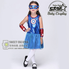 Girls Captain America Leather Dress Superhero Fancy Dress Kids Carnival Party Suits Halloween Costume For Children