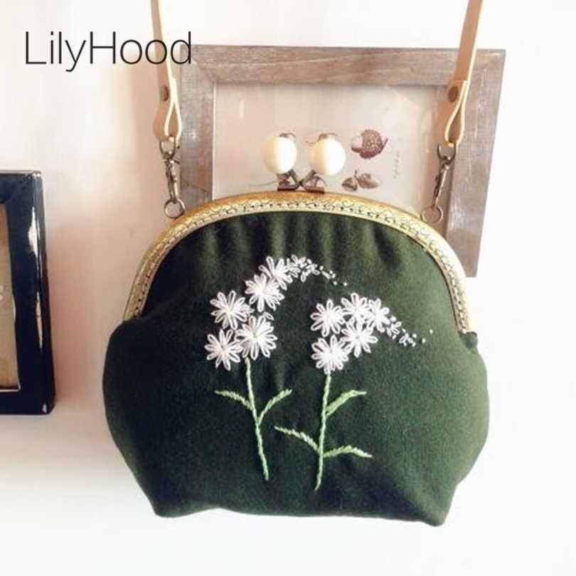 LilyHood ручная работа шерстяная фетровая вышивка сумка на плечо винтажная  Ретро потертая шикарная викторианская народная стильная 47292ad271bc7