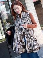 YCFUR Brand Design Women's Scarves Wraps Winter Knit Mink Fur Long Scarf For Women Soft Warm Winter Shawls Scarves For Ladies
