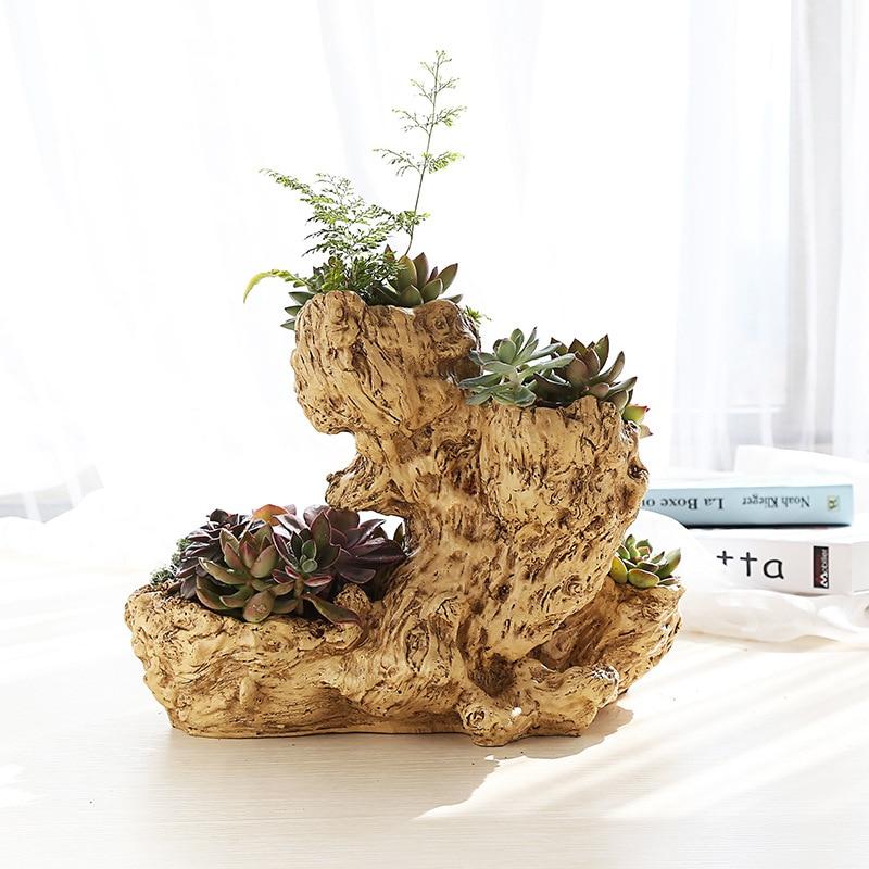 Rustic Artificial Driftwood Planter Resin Flower Pot