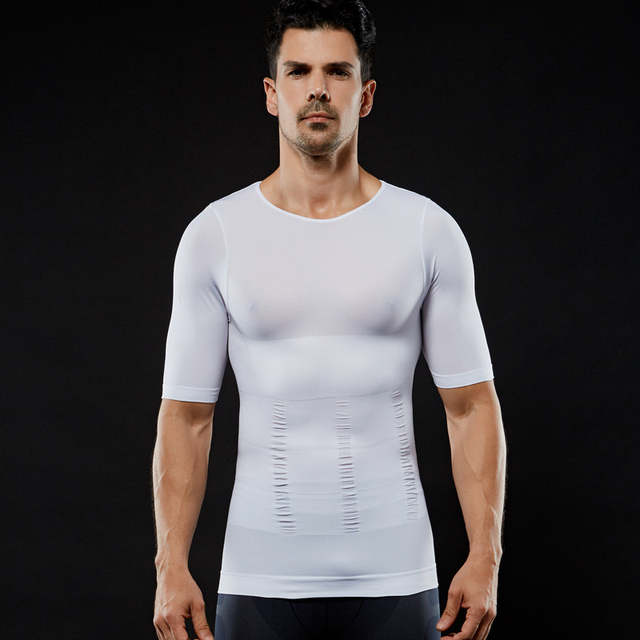 c20588c36d Men Chest Shaper Bodybuilding Slimming Belly Abdomen Tummy Fat Burn Posture  Corrector Compression Shirt Corset For
