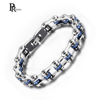 High Quality Sky Blue Crystal Motorcycle Chain Bracelet For Women Men 316L Stainless Steel Biker Chain