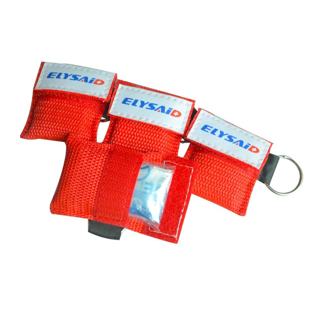 ELYSAID Medical CPR Resuscitator Mask Keychain Emergency Face Shield First Aid CPR Mask With One-way Key Ring Rescue Kit