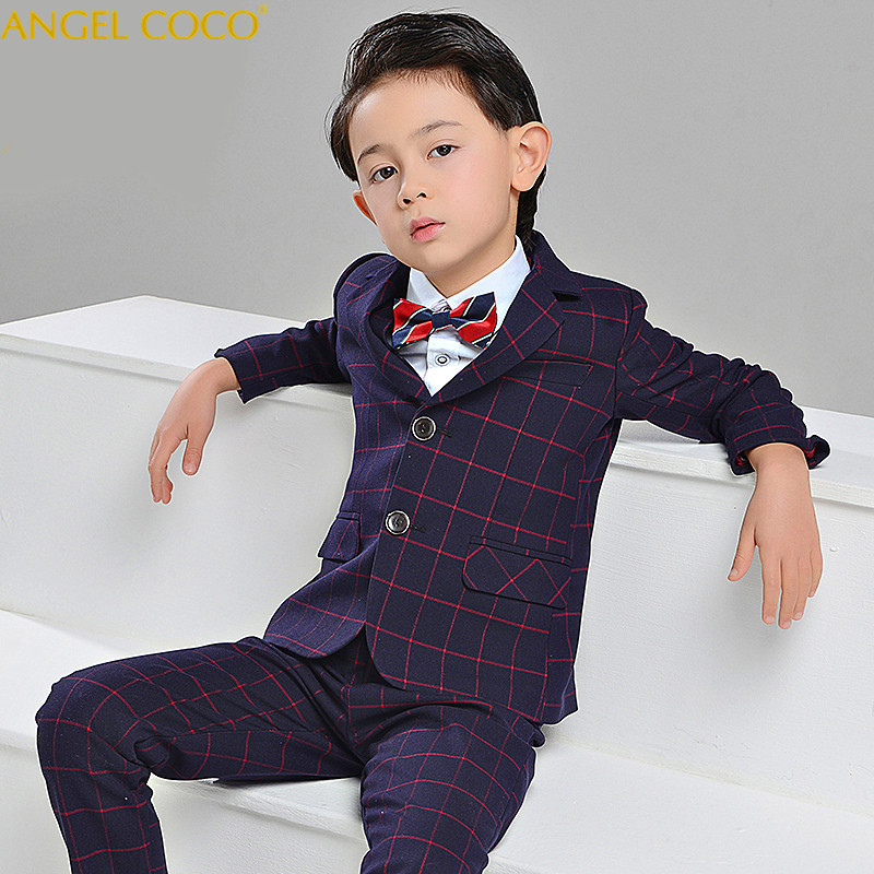 4Pcs Plaid Boys Suits For Weddings Suit Brand England Style Gentle Boys Formal Tuxedos Suit Kids Spring Clothing Costume Garcon 4pcs plaid