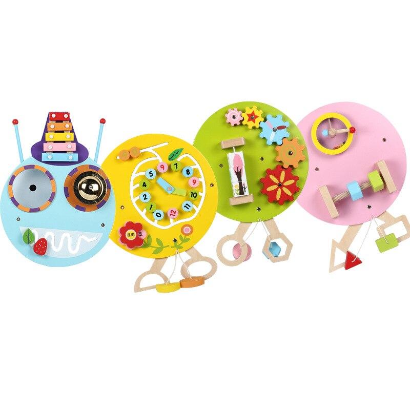 4 pièces/ensemble maternelle jouets éducatifs jeu mural jeu Caterpillar amusant enfants horloge une variété de jeux illumination jouet en bois