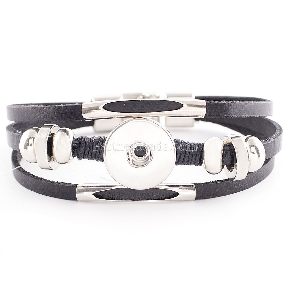 4 Bijoux Bracelet Rigide Pour Bouton Pression Couleur moins Brillant 17.5cm