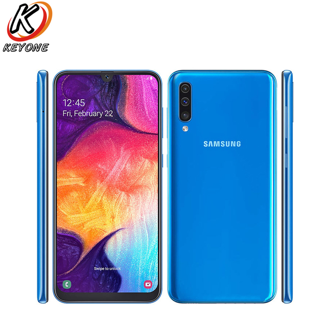 """New Samsung Galaxy A50 A505GN DS 4G Mobile Phone 6.4"""" 6GB RAM 128GB ROM Exynos 9610 Octa Core Three Rear Camera Android Phone"""