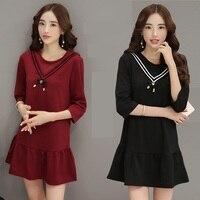 3xl mais mulheres tamanho grande roupas 2016 primavera outono inverno coreano roupa nova fino preto vermelho bonito vestido doce causal feminino A2096