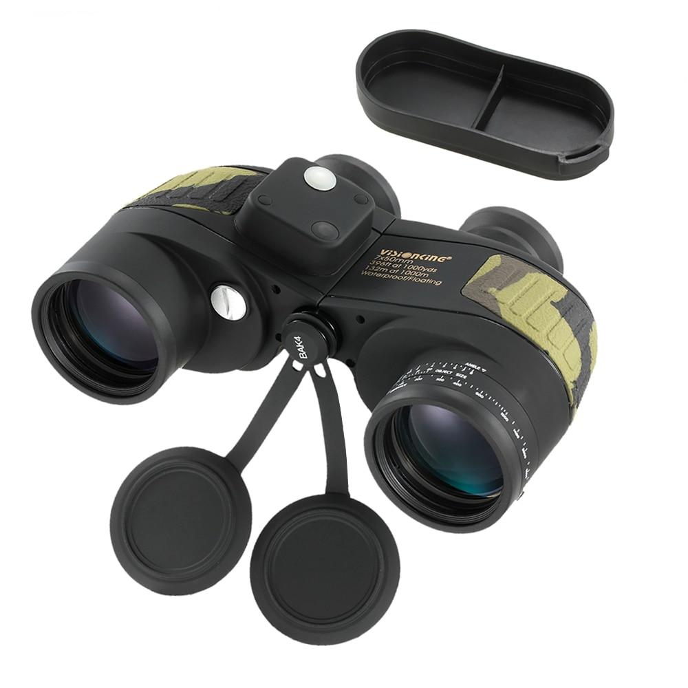New 7x50LS Binoculars Telescope Waterproof Fogproof Marine Binoculars Navigation Boating Fishing Scope with Lens Cloth and