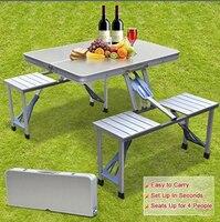 Smartlife Высокое качество открытый алюминиевый Сплит складные столы и стулья портативный барбекю Пикник столы стулья