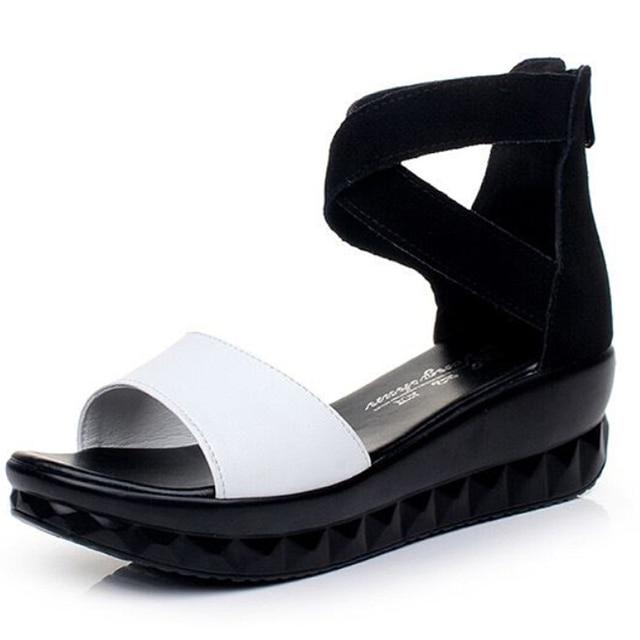 Хорошее качество 2016 новые летние туфли женщина мода крест связаны открытым носком женщины сандалии удобные клинья sandalias плюс размер 35-43