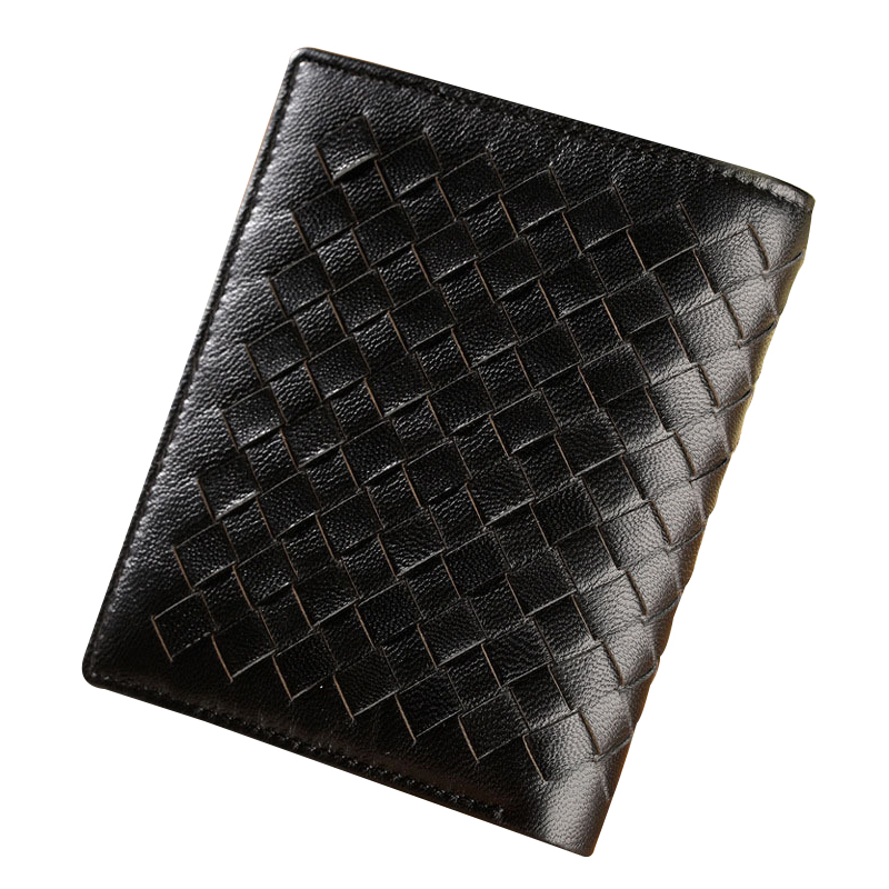 Knitting Men Wallets Fashion Male Clutch Wallet Genuine Leather Men Short Purses Weave Card Holder Purse Men Sheepskin Coin Case men wallet fashion leather purse credit card holder dollar wallet male small wallet short money purses male clutch wallets