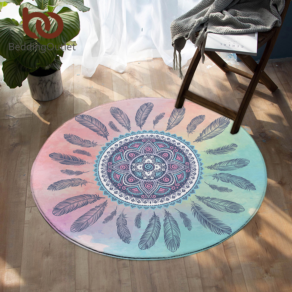 BeddingOutlet Mandala Round Carpet Kids Room Bohemian Feathers Area Rugs Mat Pink And Blue Tapete For Living Room Alfombra 100cm