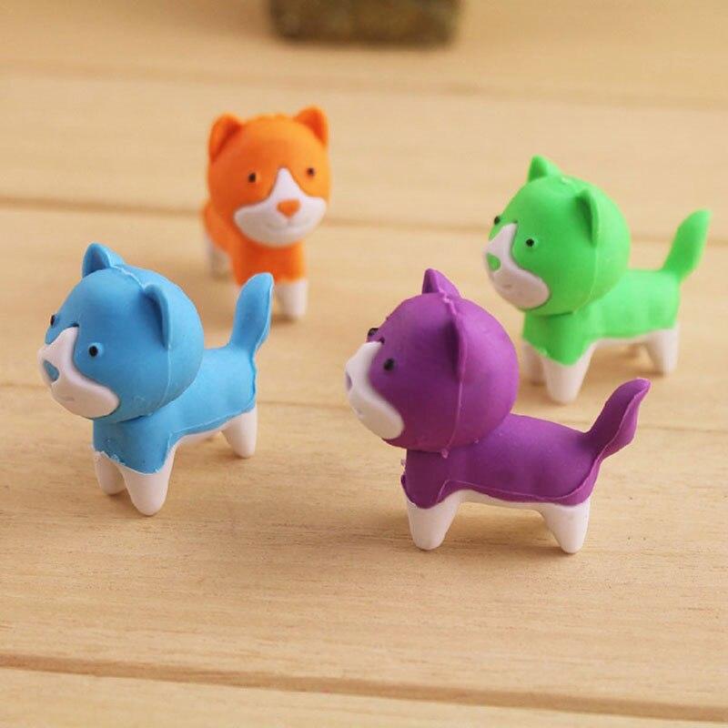 1X Kawaii Colour Dog Cute Animal Modelling Rubber Eraser Korean Creative Stationery Kindergarten Primary School Students Prizes