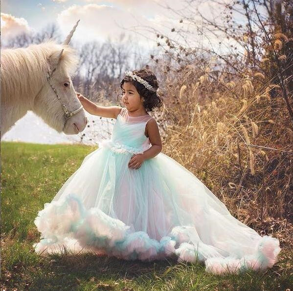 Gorgeous blue and pink tulle ruffles ball gown flower girl dress with long tail kid pageant party outfit baby birthday gown