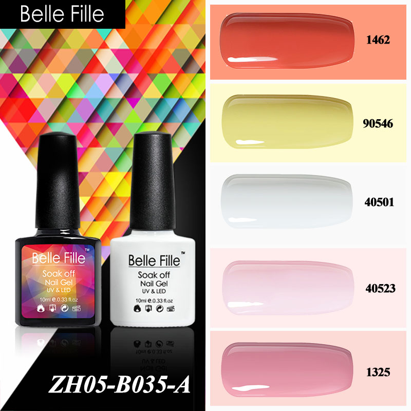 ⊰Belle fille color zafiro rubí Rosa melocotón rojo UV gel polaco ...