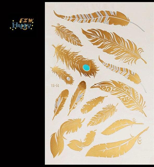 Temporary Metallic Tattoo Gold Silver Black Flash Tattoos Flash Inspired 1PC Body Art Tattoo Sticker Tatoo