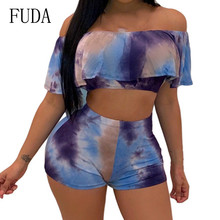 FUDA Sexy Lumbar Tie Dyed Shorts Two Pieces Sets Jumpsuits Elegant Off Shoulder Short Sleeve Vintage Playsuits Summer Overalls