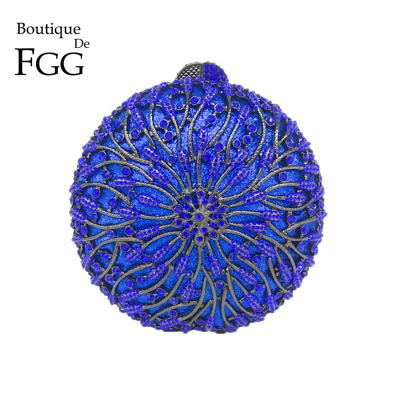 Boutique De FGG Hollow Out Round Circular Blue Crystal Women Evening Purse Metal Clutch Bag Wedding Dinner Minaudiere Handbag hollow out round faux crystal metal necklace