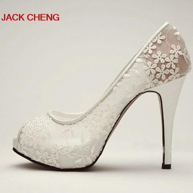 71b48302 2018 primavera blanco encaje alto talón Peep Toe zapatos boda Vestido  zapatos hermosa mujer Formal zapatos