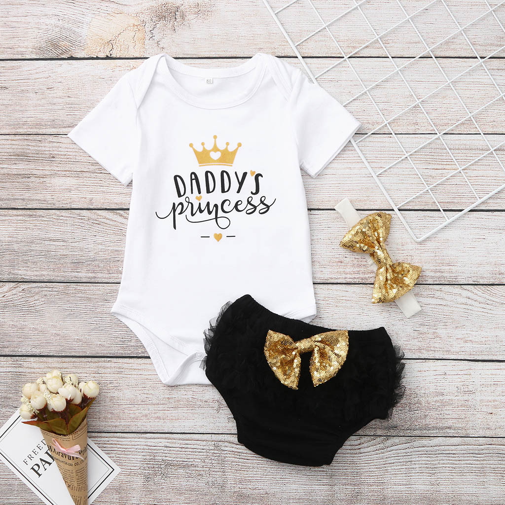 Infant Newborn Baby Girl Romper Bodysuit Tops Bow Shorts Pants Clothes Outfits
