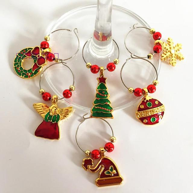 1 set metal christmas wine glass decoration party new year cup ring table decorations xmas pendants - Metal Christmas Decorations