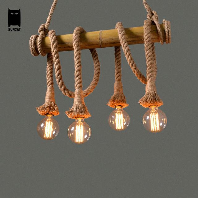 Bamboo Tube Hemp Rope Bulb Pendant Light Fixture Retro Rustic Loft Vintage Industrial Country Lustre Avize Luminaria Dining Room