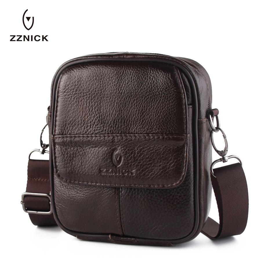 ZZNICK New 100%Genuine Leather Male Bags Vintage Men Messenger Bags Casual Men's Cross Body Shoulder Bag Men's Travel Small Bag zznick 2017 new men genuine leather messenger bag male cowhide leather cross body shoulder bag vintage men bags handbag