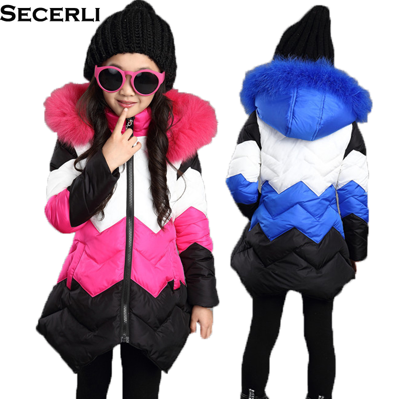 New Fashion Kids Girls Winter Coat Parka 4 To 12 Years Children Jacket Cotton Padded Fur Collar Girls Hooded Coats Warm Clothing цена 2017