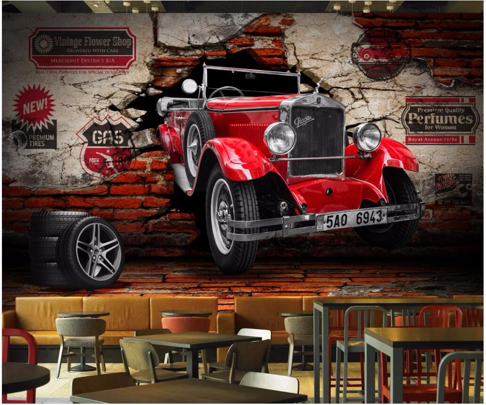 3d wallpaper custom photo large Retro vintage car car broken wall 3d wall murals wall papers home decor for living room