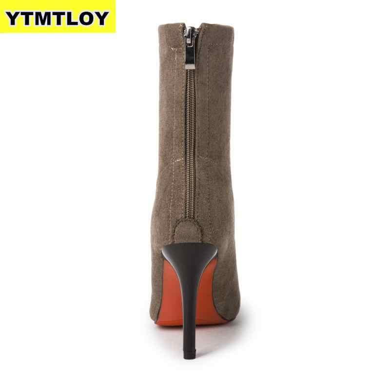 Femmes chaussette bottes bout pointu élastique haut sans lacet talon cheville pompes Stiletto Botas Zapatos De Mujer chaussette chaussures bottes hautes
