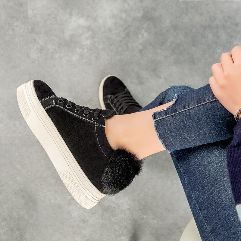 De brown Cálido Zapatillas Zapatos Encaje Mujeres Pinsv Suede 35 Señoras Tamaño Pisos Black Invierno Mujer Casual 39 1xfpvU