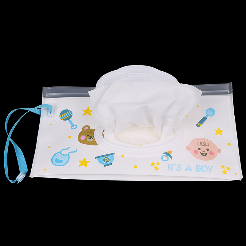 For Baby Outdoor Carrying Bags For Stroller Car Baby Care Wet Paper Lid Bag Cartoon Travel Wipes Cover Reusable Tissue Organizer