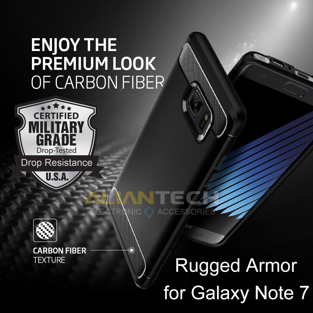 100% Original SGP Note 7 Rugged Armor Ultimate Protection Flexible TPU Resilient Cases for Samsung Galaxy Note 7