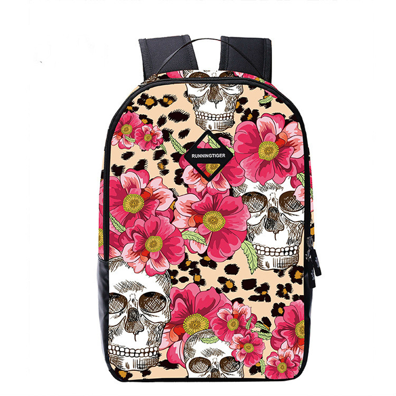 Cool Skull Series Bag Canvas Travel Bag Reduce the burden Breathable Shoulder Bag Cool Print Student Pack