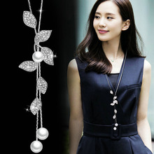 Classic White Simulated-pearl Leaf Drop Necklaces & Pendants For Women Long Shopping Party Anniversary Jewelry Accessories