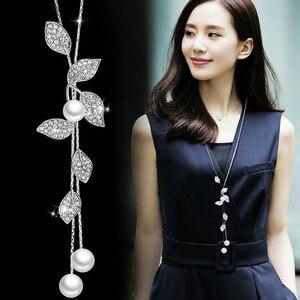 Классические белые ожерелья с имитацией жемчуга в форме листьев и подвески для женщин, Длинные вечерние украшения для покупок, аксессуары д...