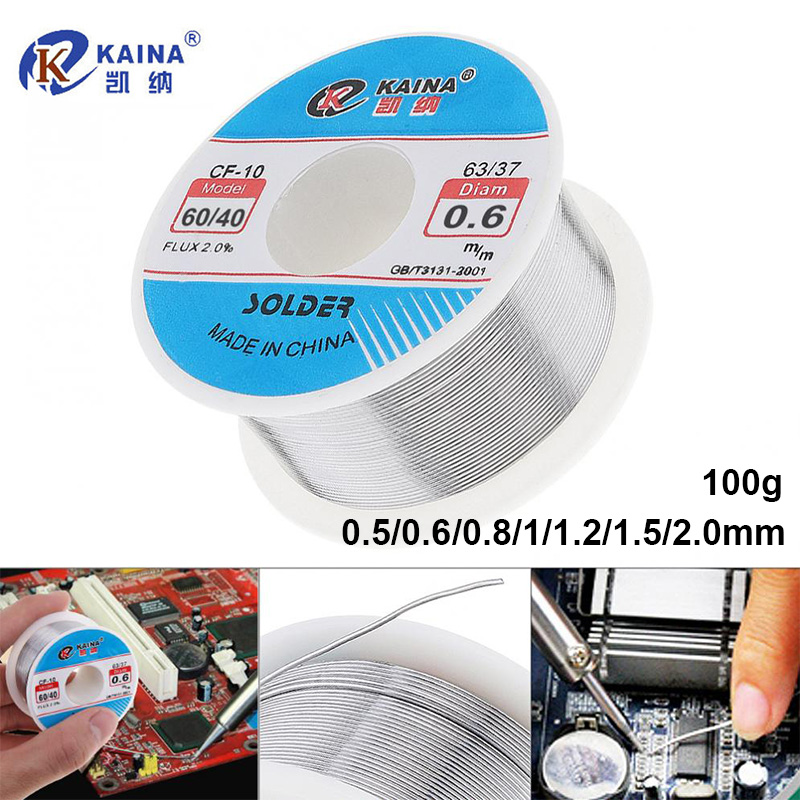 Kaina Welding Wire 0.5/0.6/0.8/1/1.2/1.5/2.0mm Solder Wire 100g 60/40 FLUX 2.0% Tin For Soldering Lead Free Solder For Aluminum