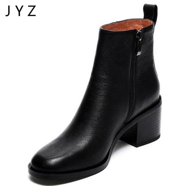Fashion Womens Ankle Boots Simple Shoes Platform Pumps Autumn Winter Fur High Heels Lady Black Size 40 aa0515