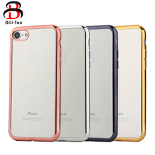 Plating Transparent Soft TPU Case for iPhone 6 7 Cases Thicken Frame Clear Phone Housing for iPhone 7 plus 6 plus Cover