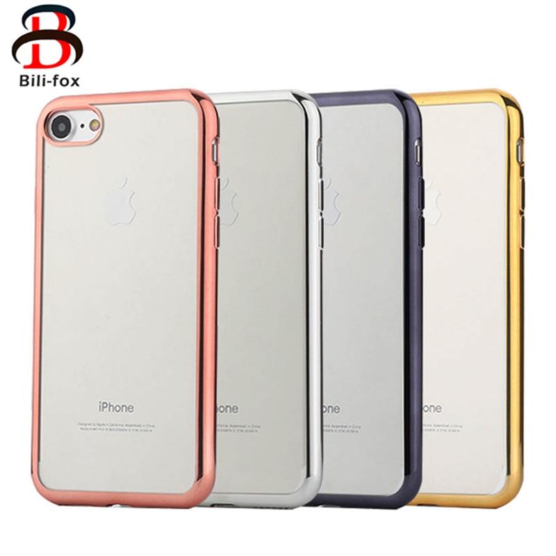 Plätering Transparent Mjukt TPU-fodral för iPhone 8 6 7 Fodral - Reservdelar och tillbehör för mobiltelefoner - Foto 1