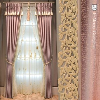 Custom curtains Light luxury European high-precision jacquard pink purple cloth blackout curtain tulle drape B472 фото