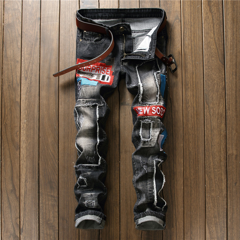 NEW Rap Distressed Patchwork Men Jeans Scratched Biker Jeans Hole Ripped Denim Straight Slim Fit Casual Cotton Pants newsosoo personality badge patchwork jeans mens ripped men jeans rap biker hole hip hop denim straight slim fit casual men pants