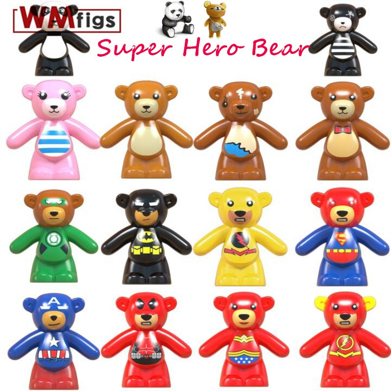 Single Bear Pet Animals Super Heroes Bear s Panda Flash Batman Superman Lantern Captain America Building Blocks Model Toys(China)